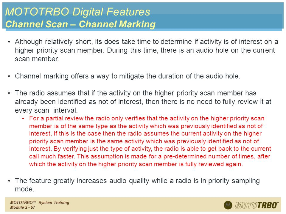 MOTOTRBO Digital Features Channel Scan – Channel Marking