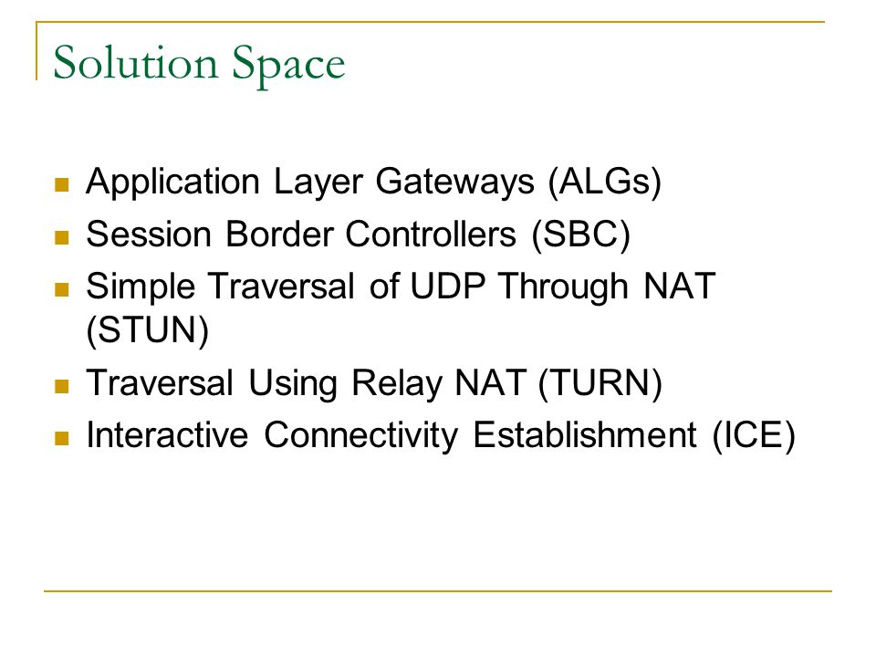 Solution Space Application Layer Gateways (ALGs)