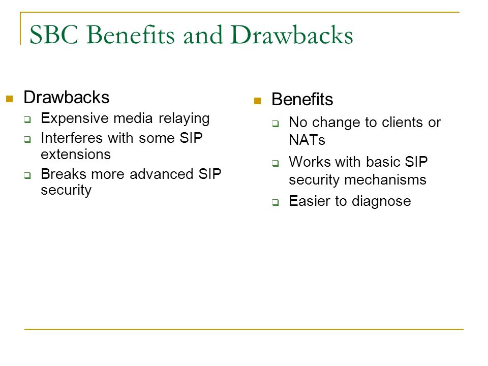 SBC Benefits and Drawbacks
