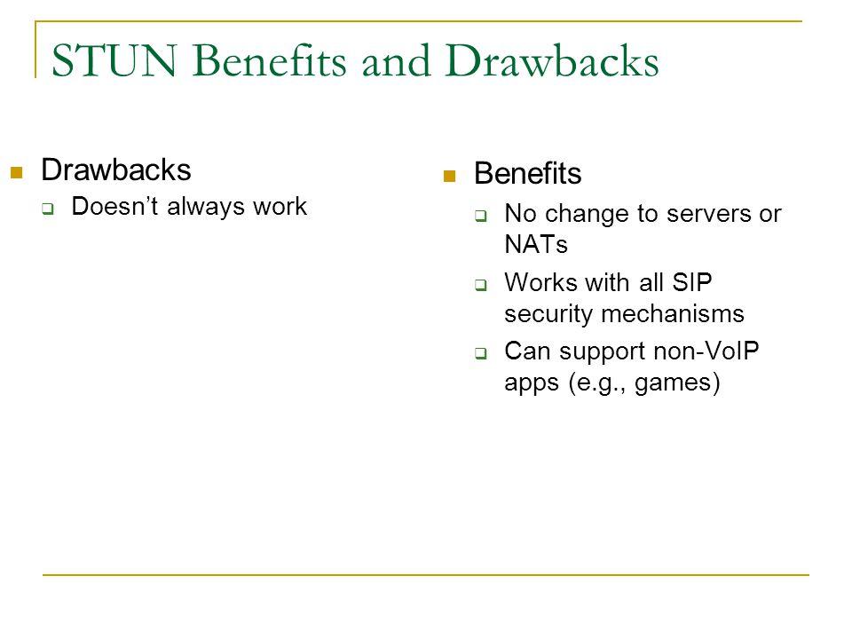 STUN Benefits and Drawbacks