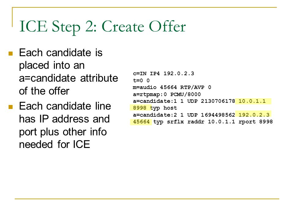 ICE Step 2: Create Offer Each candidate is placed into an a=candidate attribute of the offer.