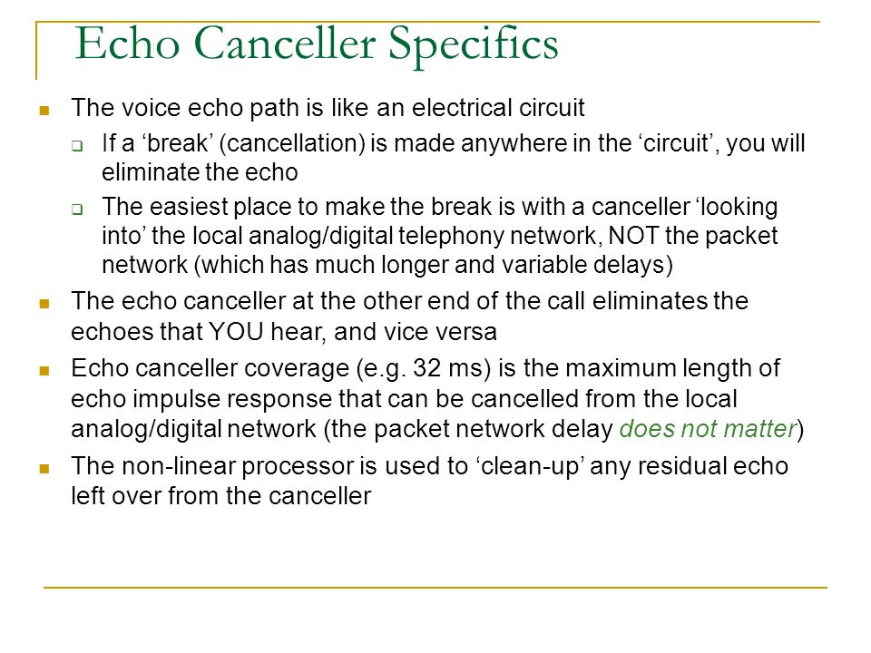 Echo Canceller Specifics
