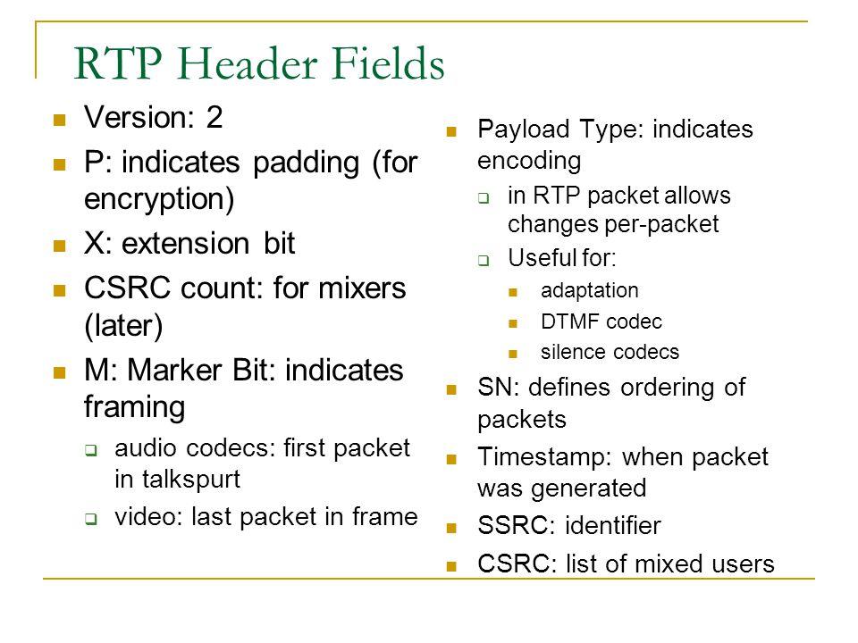 RTP Header Fields Version: 2 P: indicates padding (for encryption)