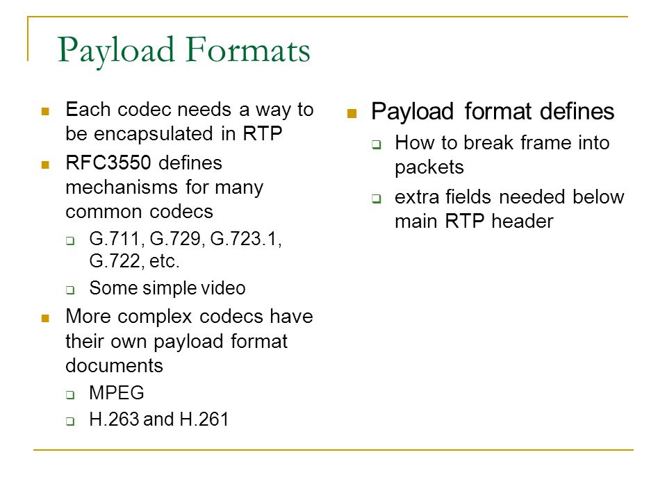 Payload Formats Payload format defines