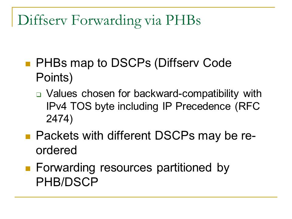 Diffserv Forwarding via PHBs