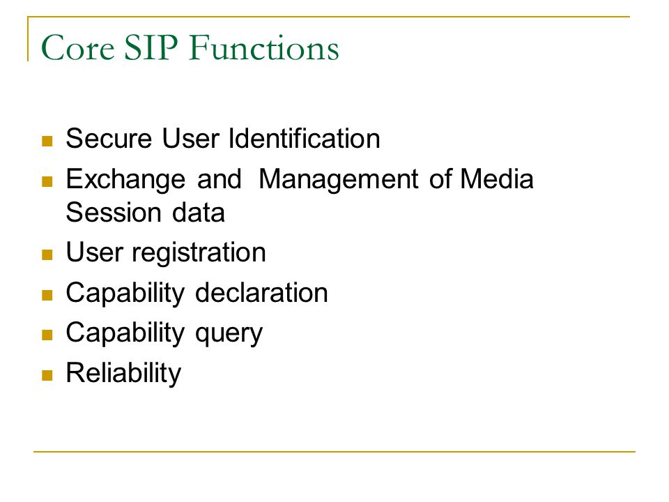 Core SIP Functions Secure User Identification