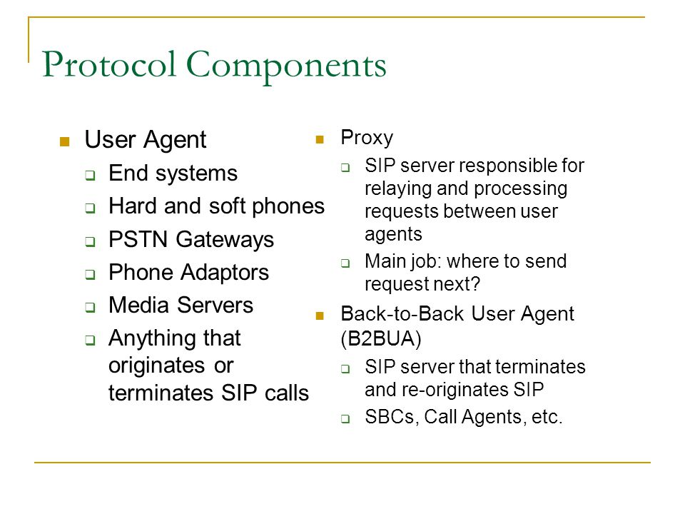 Protocol Components User Agent End systems Hard and soft phones