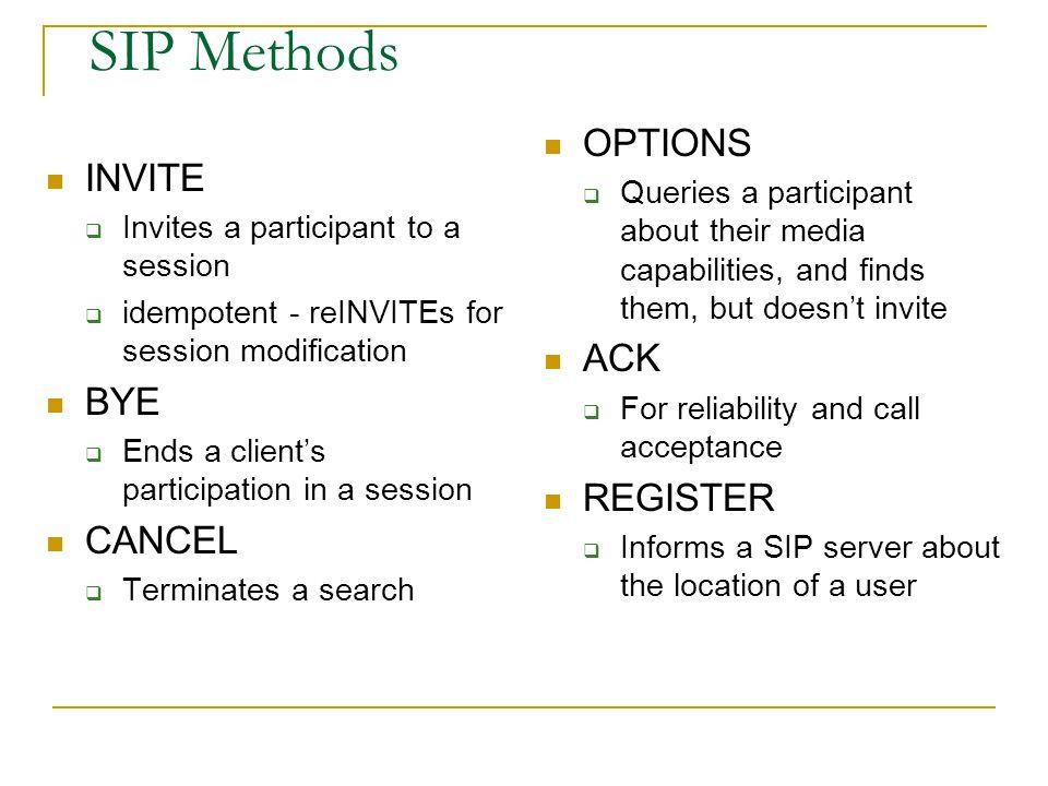 SIP Methods OPTIONS INVITE ACK BYE REGISTER CANCEL