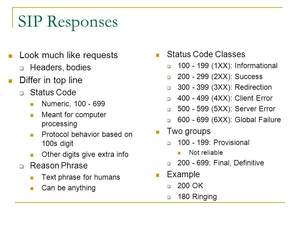 SIP Responses Look much like requests Differ in top line