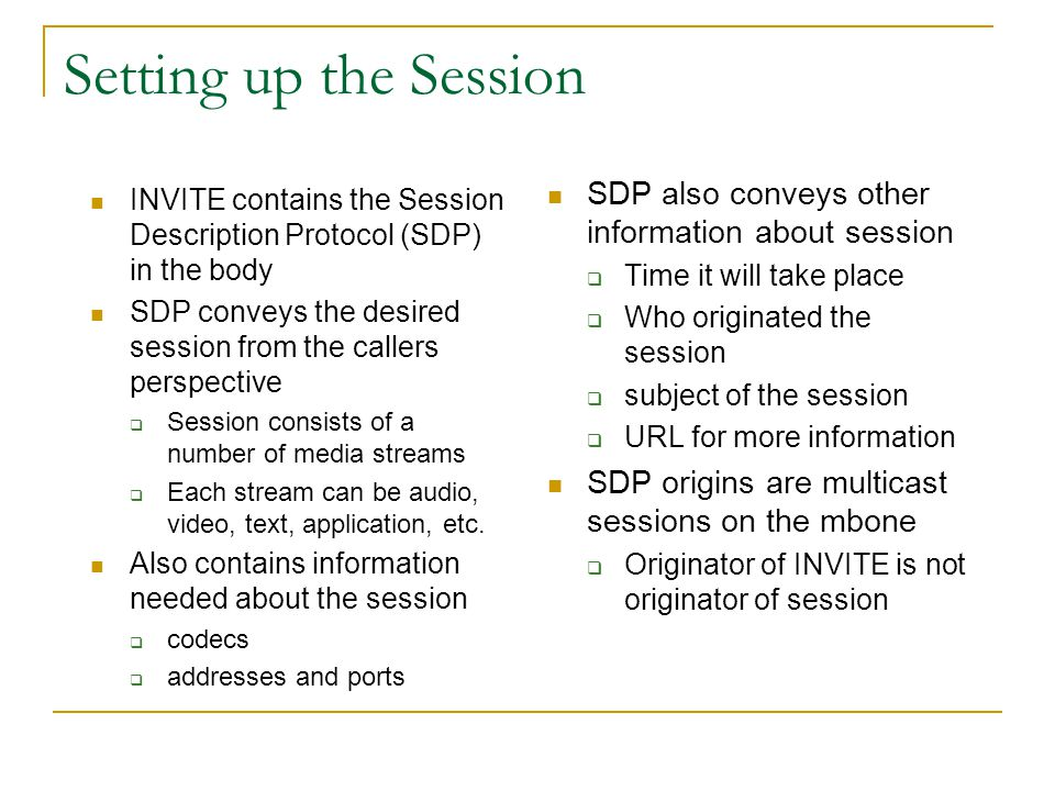 Setting up the Session SDP also conveys other information about session. Time it will take place. Who originated the session.