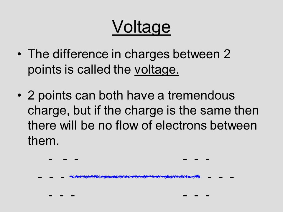 Voltage The difference in charges between 2 points is called the voltage.