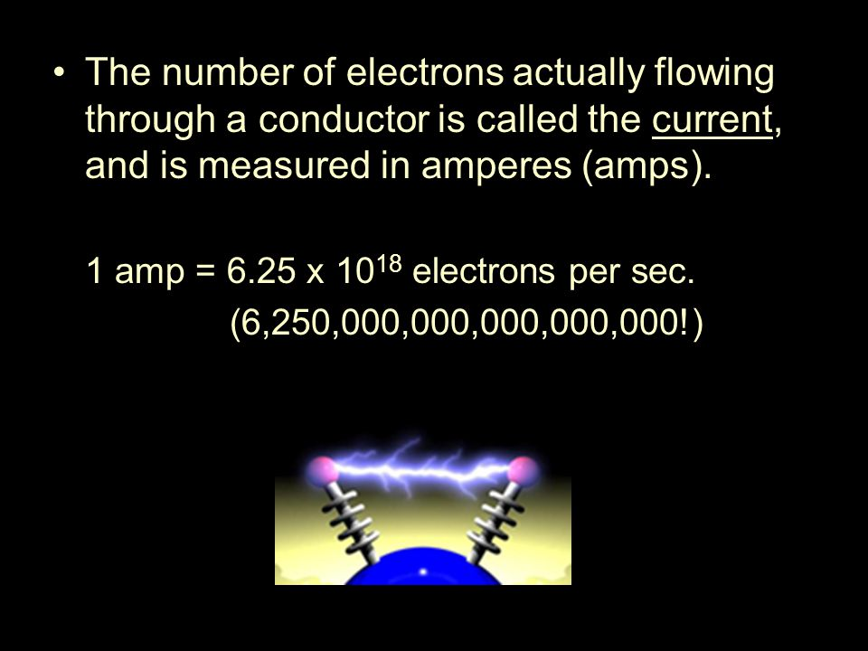 The number of electrons actually flowing through a conductor is called the current, and is measured in amperes (amps).