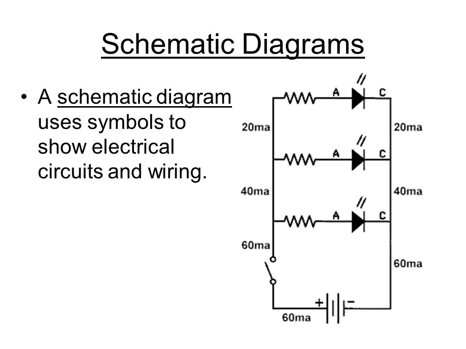 Schematic Diagrams A schematic diagram uses symbols to show electrical circuits and wiring.