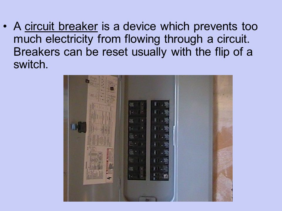 A circuit breaker is a device which prevents too much electricity from flowing through a circuit.
