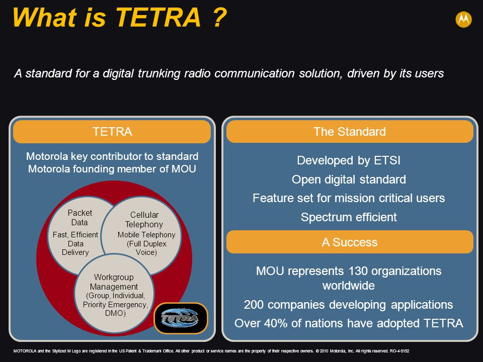 What is TETRA A standard for a digital trunking radio communication solution, driven by its users.