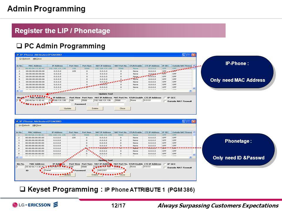 Admin Programming Register the LIP / Phonetage PC Admin Programming