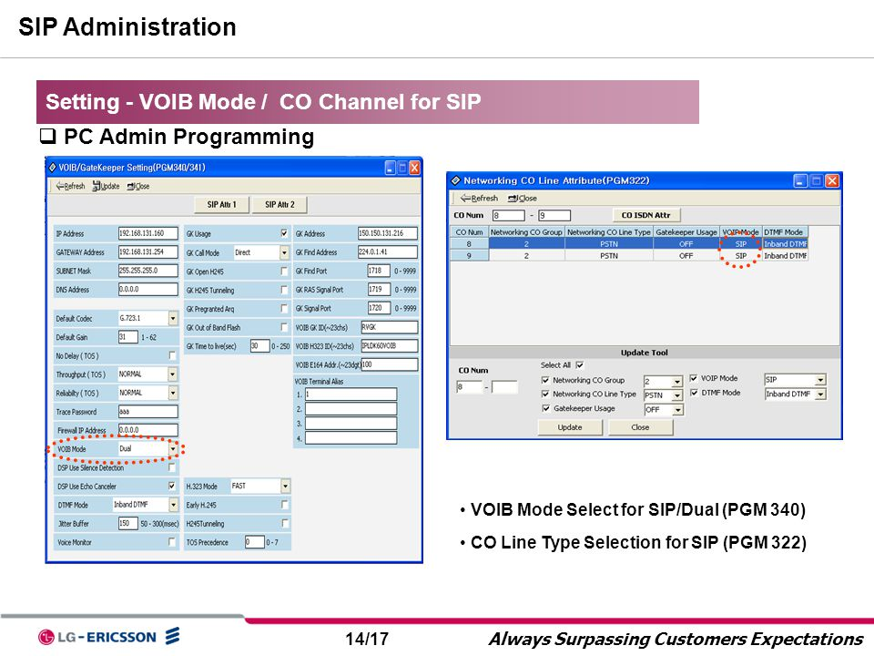 SIP Administration Setting - VOIB Mode / CO Channel for SIP