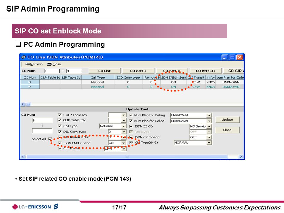 SIP Admin Programming SIP CO set Enblock Mode PC Admin Programming