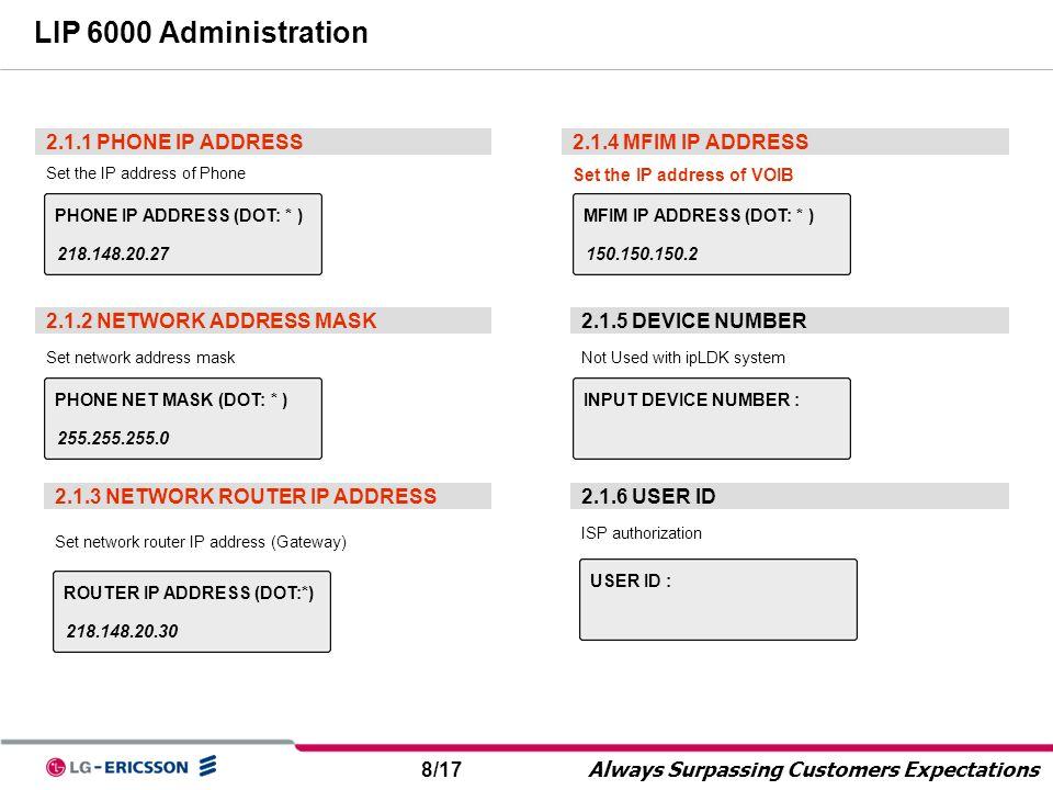 LIP 6000 Administration 2.1.1 PHONE IP ADDRESS 2.1.4 MFIM IP ADDRESS