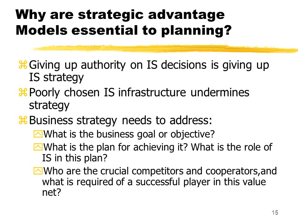 Why are strategic advantage Models essential to planning