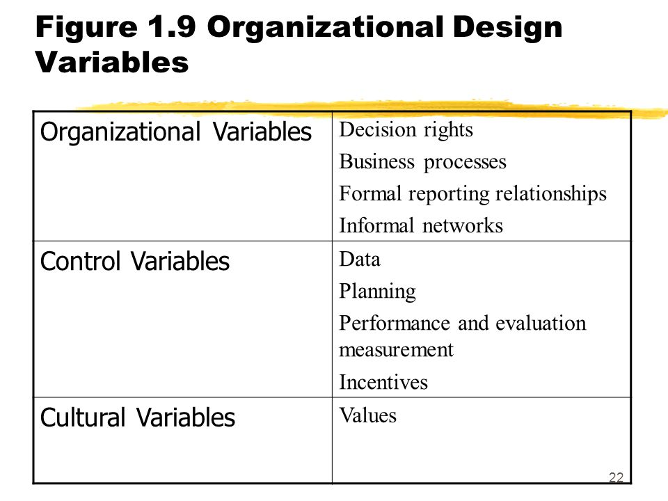 Figure 1.9 Organizational Design Variables