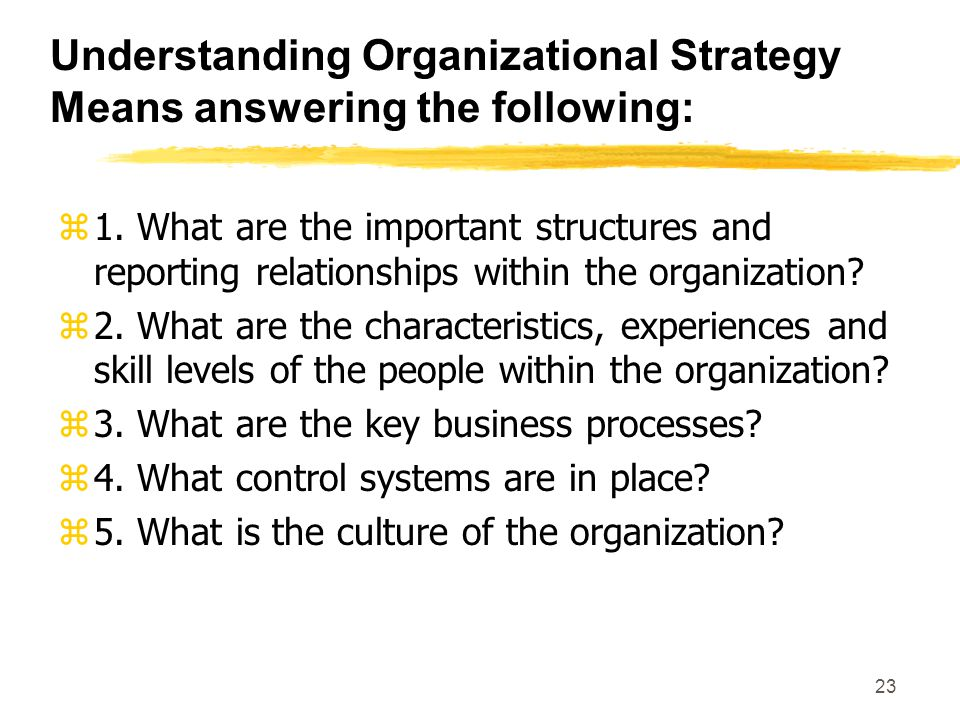 Understanding Organizational Strategy Means answering the following: