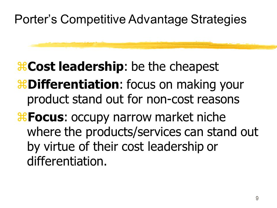 Porter's Competitive Advantage Strategies