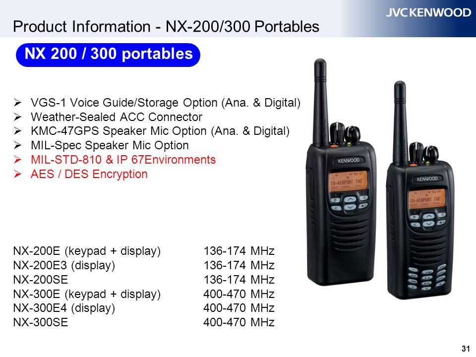 Product Information - NX-220/320 Portables
