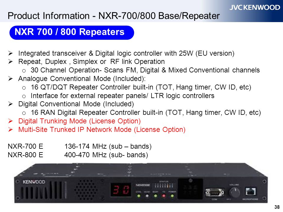 Product Information - NXR-700/800 Base/Repeater