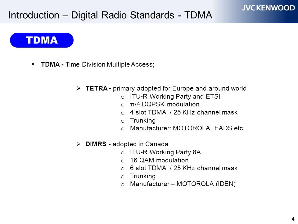 Introduction – Digital Radio Standards - TDMA