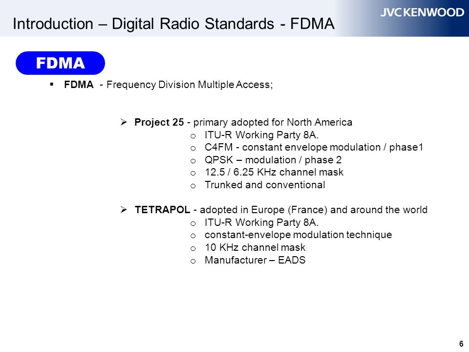 Introduction – Digital Radio Standards - FDMA