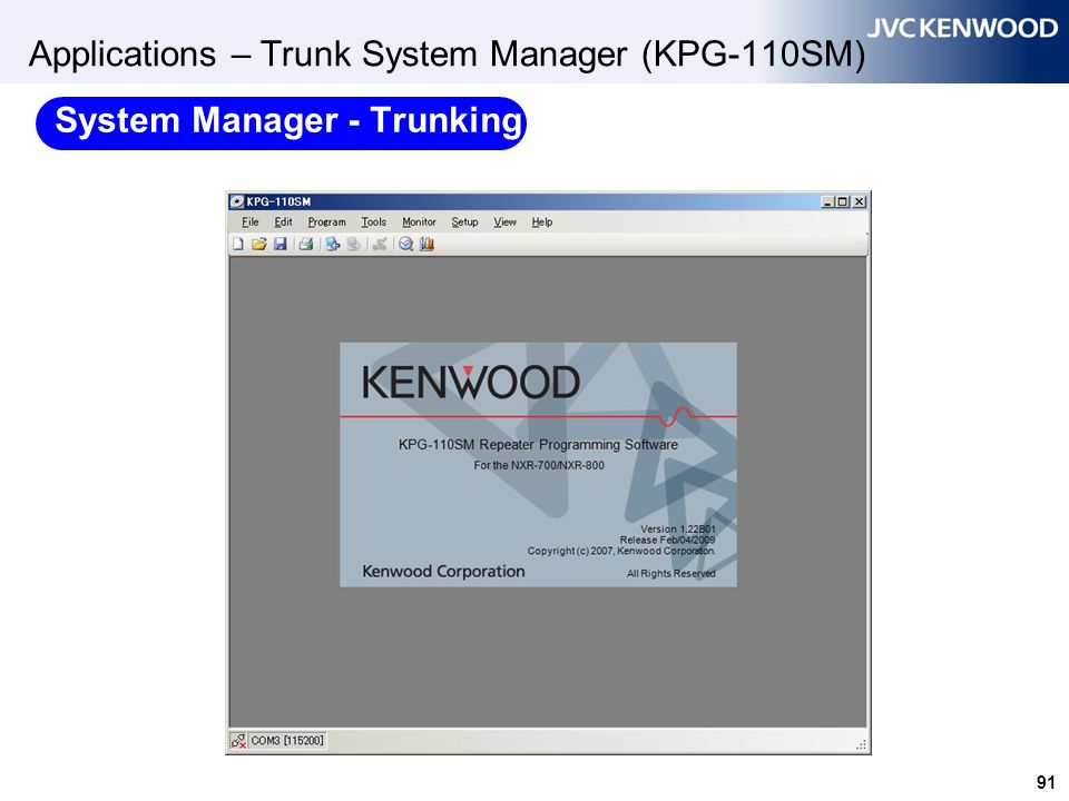 Applications – Trunk System Manager (KPG-110SM)
