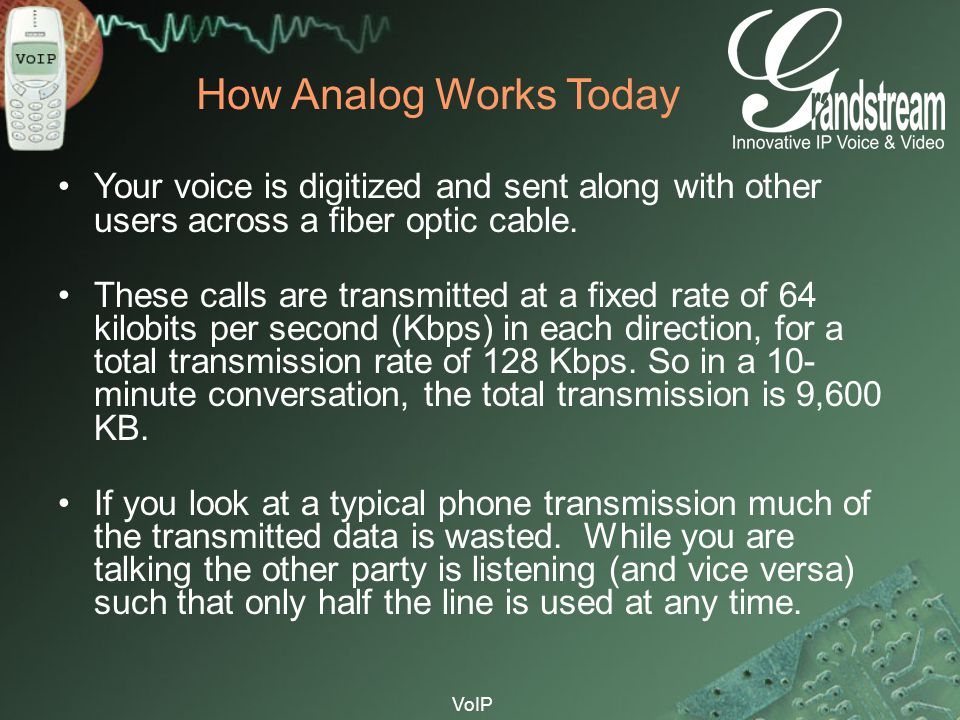 How Analog Works Today Your voice is digitized and sent along with other users across a fiber optic cable.