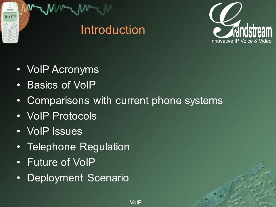 Introduction VoIP Acronyms Basics of VoIP