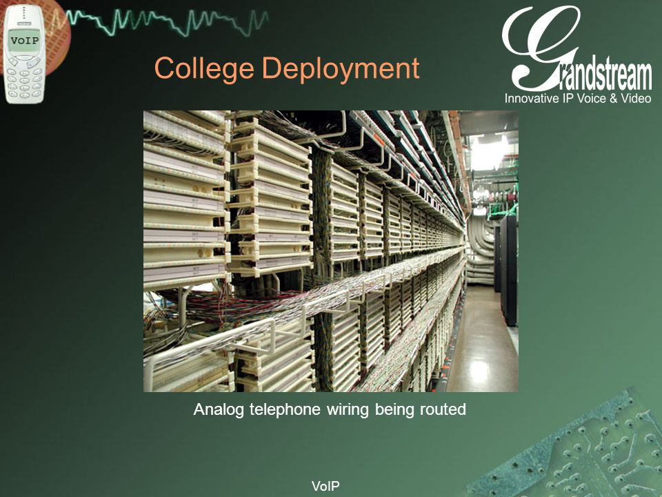 College Deployment Analog telephone wiring being routed VoIP
