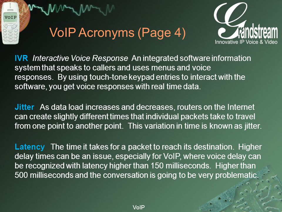 VoIP Acronyms (Page 4)