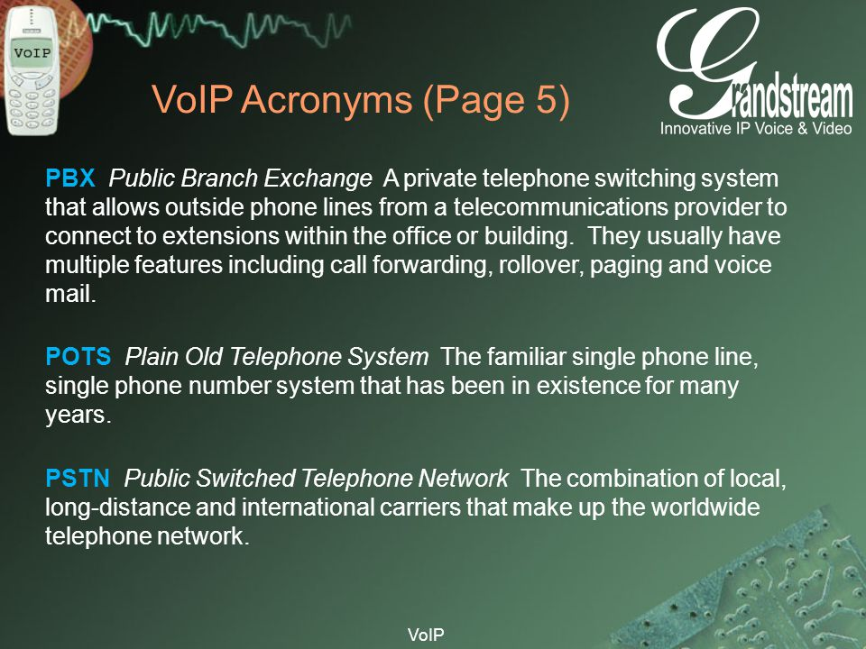 VoIP Acronyms (Page 5)