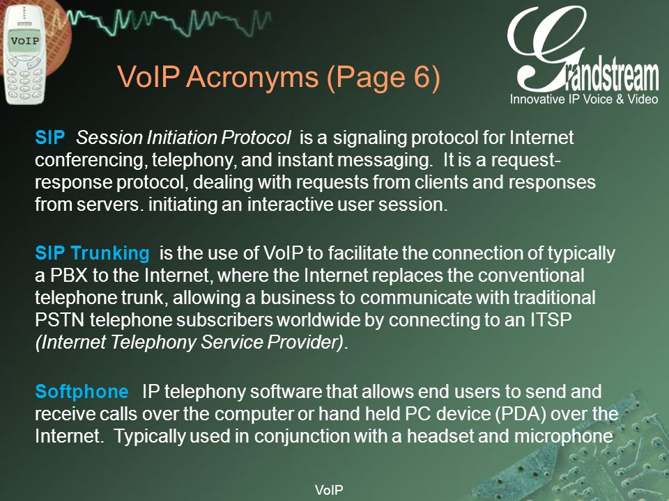 VoIP Acronyms (Page 6)