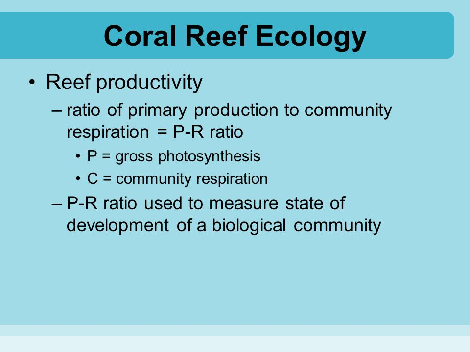 Coral Reef Ecology Reef productivity