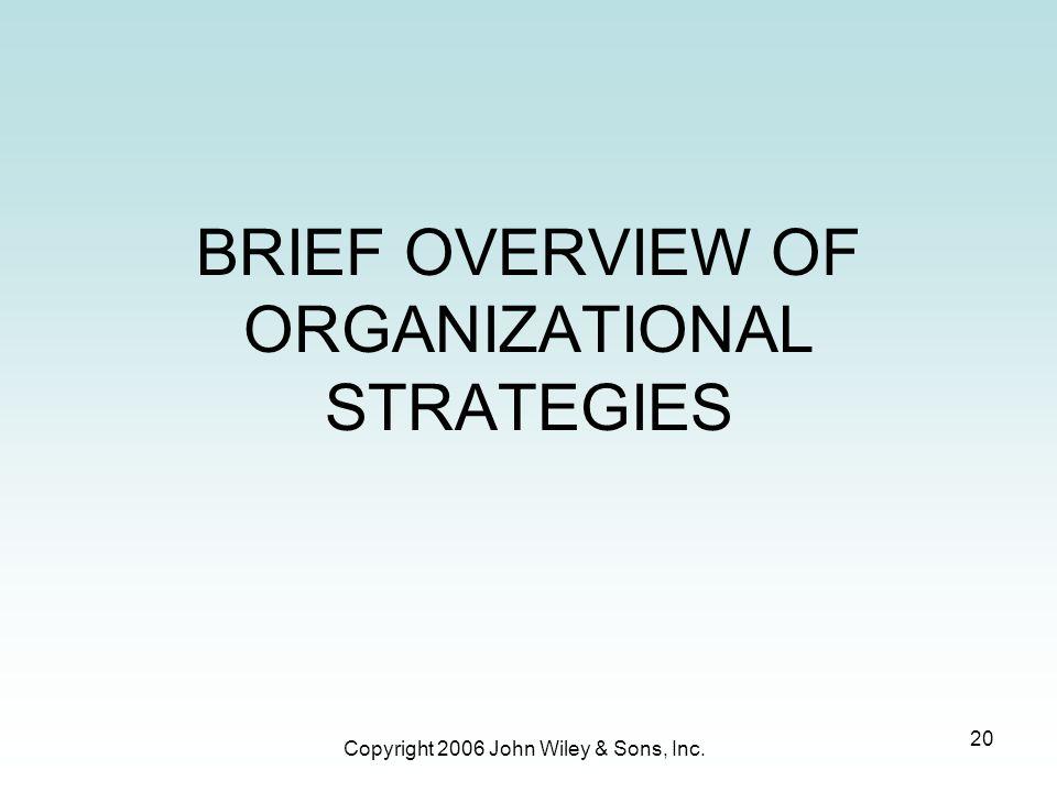 BRIEF OVERVIEW OF ORGANIZATIONAL STRATEGIES