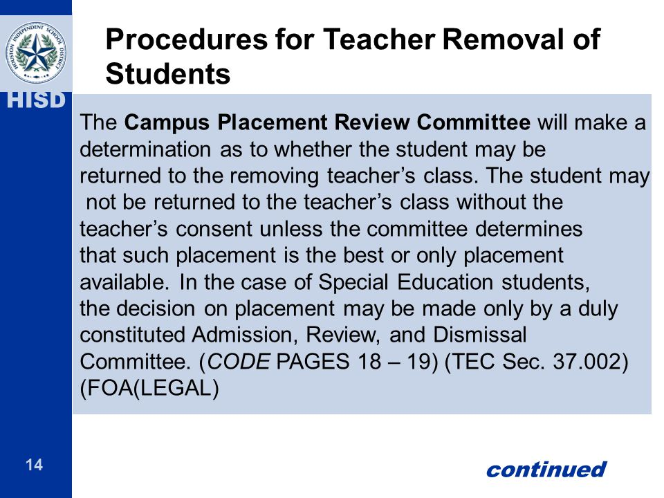 Procedures for Teacher Removal of Students