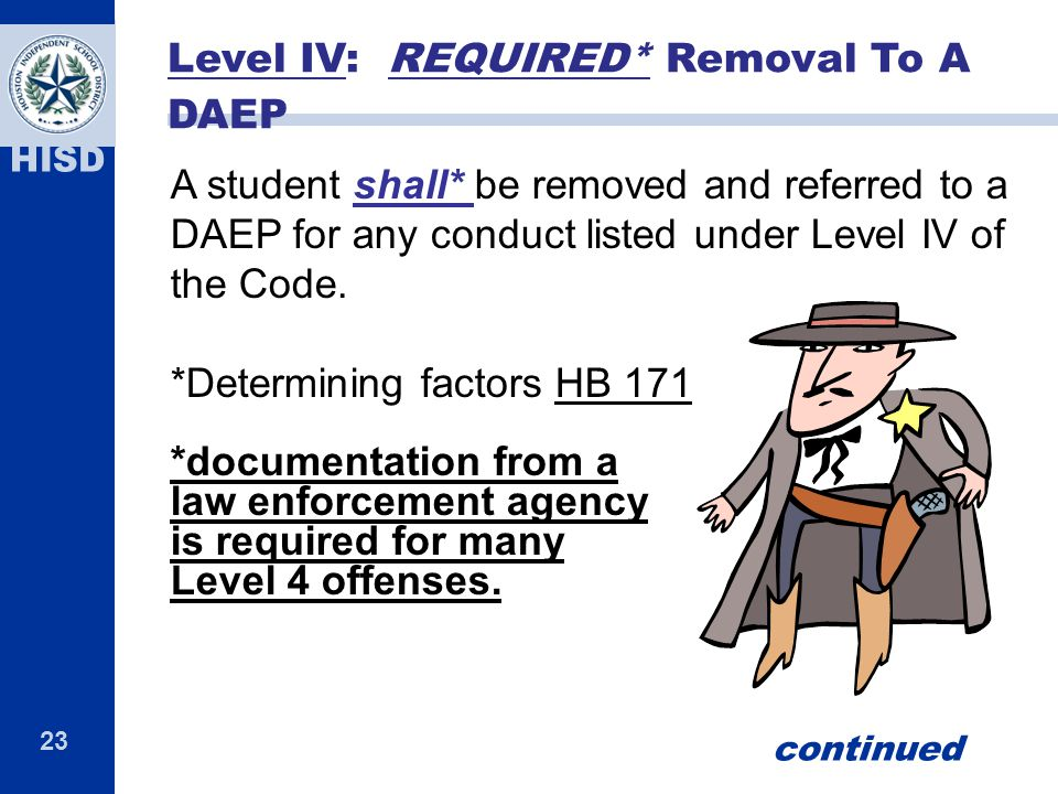 Level IV: REQUIRED* Removal To A DAEP