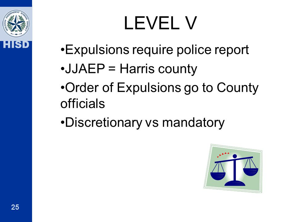 LEVEL V Expulsions require police report JJAEP = Harris county