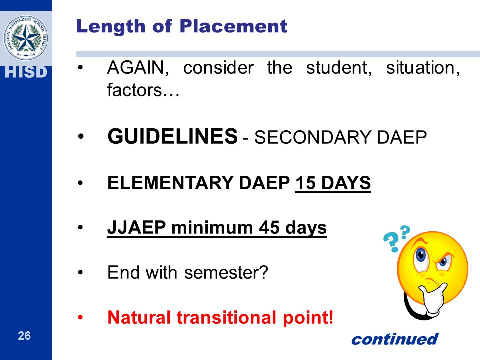 GUIDELINES - SECONDARY DAEP