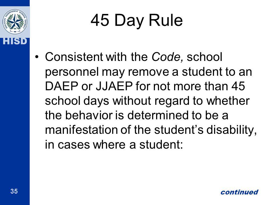 45 Day Rule