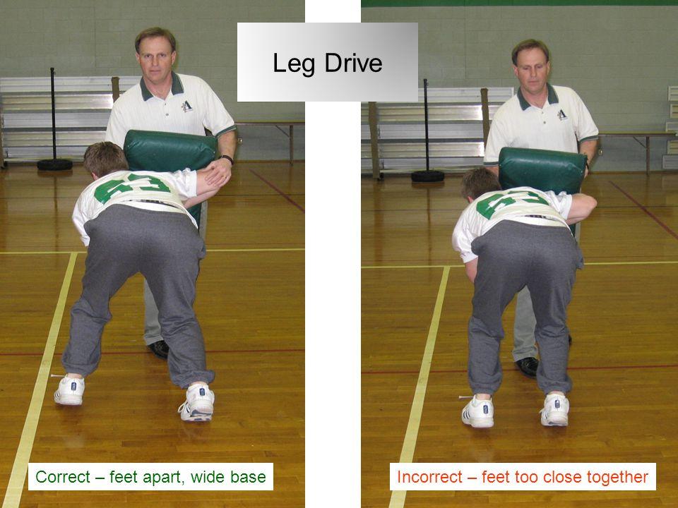 Leg Drive Correct – feet apart, wide base