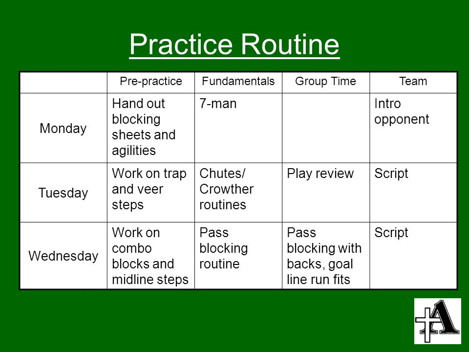 Practice Routine Monday Hand out blocking sheets and agilities 7-man