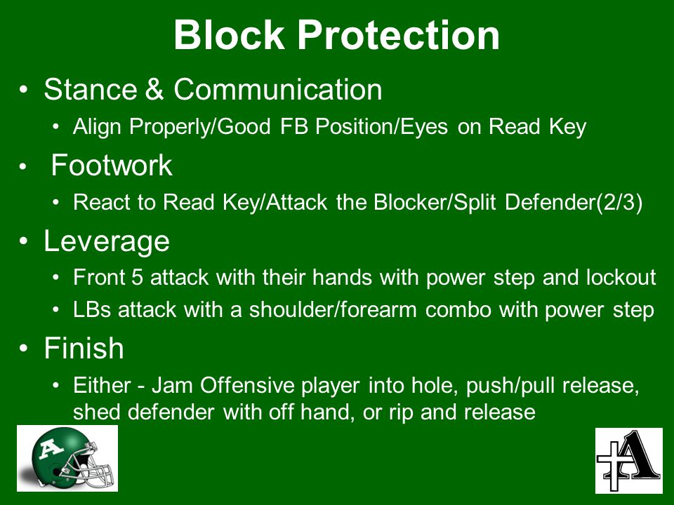 Block Protection Stance & Communication Leverage Finish Footwork