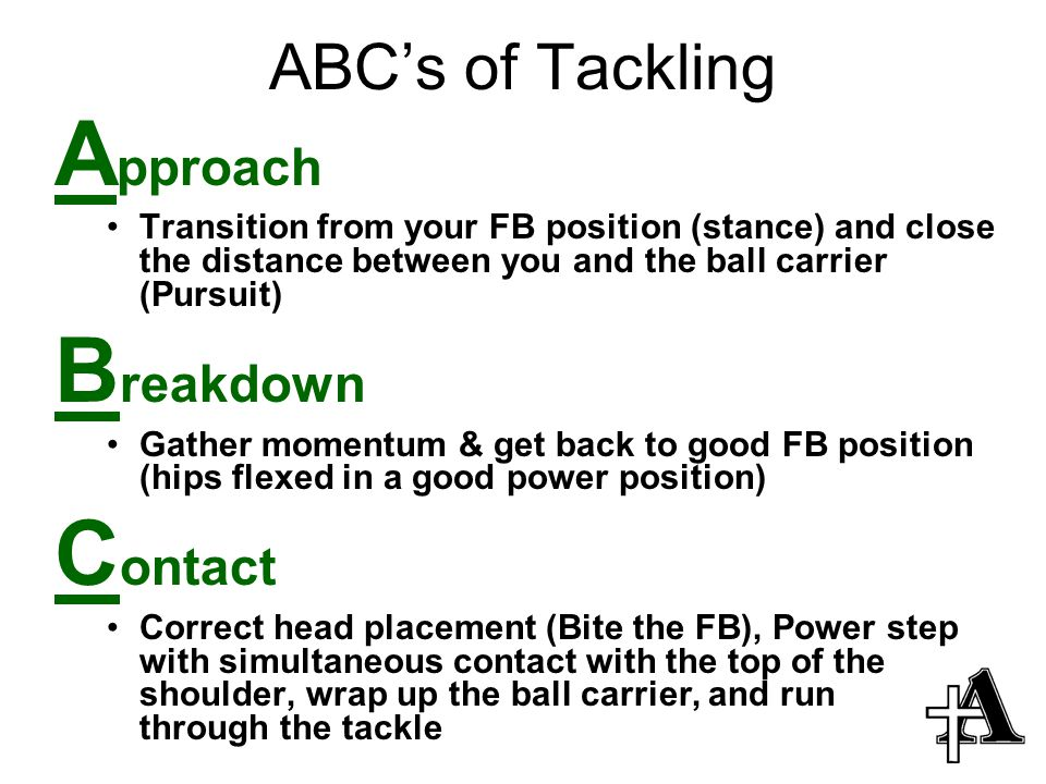 Approach Breakdown Contact ABC's of Tackling