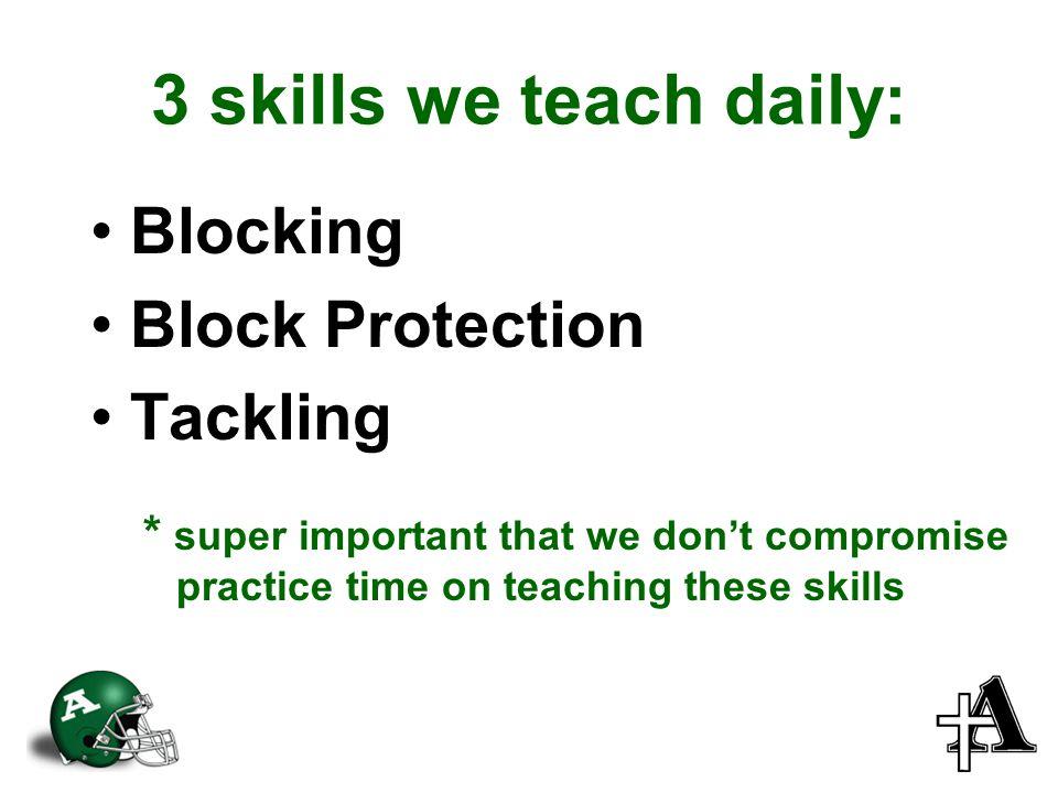 3 skills we teach daily: Blocking Block Protection Tackling